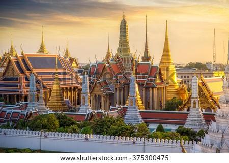Grand palace and Wat phra keaw at sunset bangkok, Thailand - stock photo