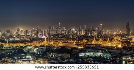 Grand palace at night in Bangkok, Thailand - stock photo