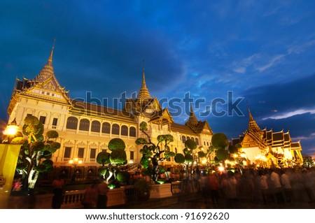 Grand palace  in the night at bangkok, THAILAND - stock photo