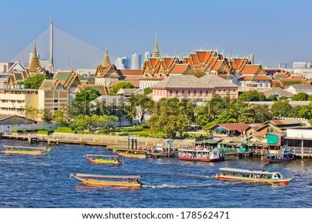 Grand palace on Chaw Phra ya river at Bangkok, Thailand  - stock photo