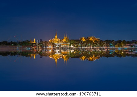 Grand palace river side at twilight time in Bangkok, Thailand - stock photo