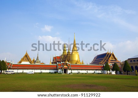 Grand Palace, the major tourism attraction in Bangkok, Thailand. - stock photo