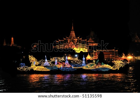 Grand Palace with the light boat During Loy kratong Festival of light, Bangkok - stock photo