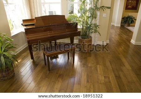 Grand piano and hardwood floor. - stock photo