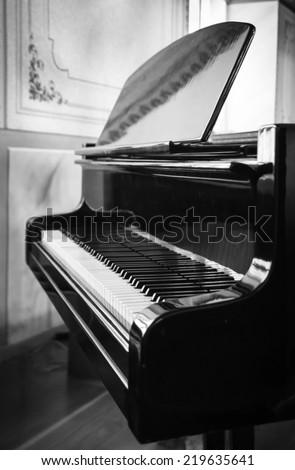 Grand Piano B\W - stock photo