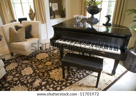 Grand piano in a luxury home. - stock photo