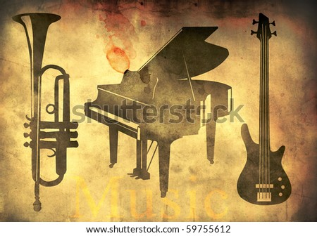 Grand piano, trumpet and guitar - music theme over retro background - stock photo