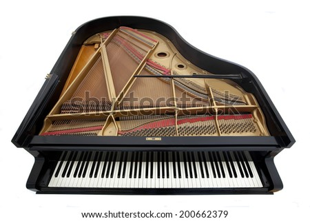 Grand Piano with Exposed Interior Isolated on White Background  - stock photo