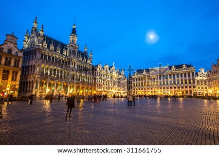 Grand Place Brussels, Belgium at dusk. - stock photo