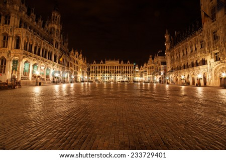 Grand Place from Brussels, Belgium - landscape (night shot)  - stock photo