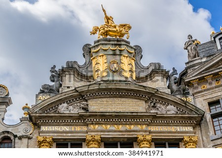 Grand Place (Grote Markt) is one of most beautiful squares in Europe with architecture from 3 different eras (Baroque, Gothic and Louis XIV). Architectural fragments. Brussels, Belgium. - stock photo