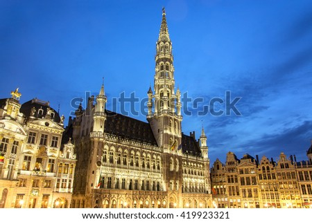 Grand Place main square and Town hall of Brussels in night, Belgium - stock photo