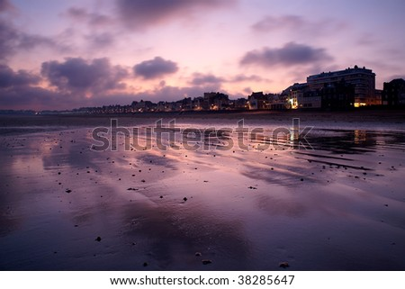 Grand Plage in the morning in Saint Malo, France. - stock photo