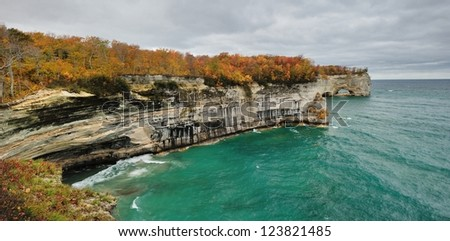 Grand Portal Point Pictured Rocks National Lakeshore.  Michigan Autumn - stock photo