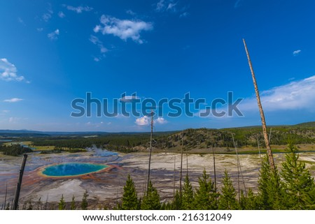 Grand Prismatic as seen above. Yellowstone National Park  - stock photo