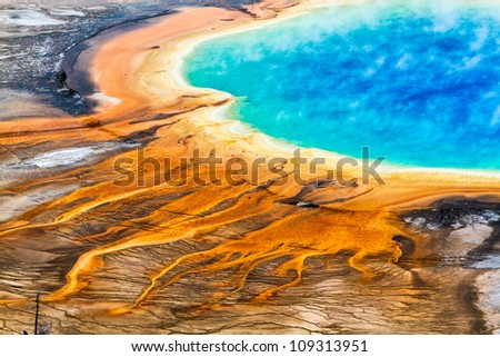 Grand Prismatic Geyser Yellowstone National Park - stock photo