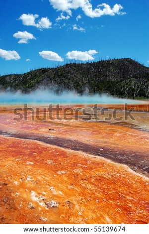 Grand Prismatic Spring at Yellowstone National Park - stock photo