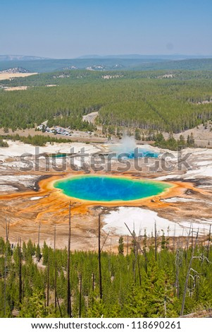 Grand Prismatic Spring in Yellowstone National Park - stock photo