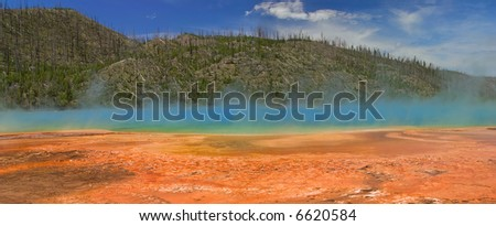 Grand Prismatic Spring in Yellowstone National Park. - stock photo