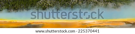 Grand Prismatic Spring panorama in Midway Geyser Basin, Yellowstone National Park, Wyoming - stock photo