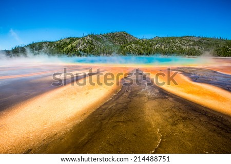 Grand Prismatic Spring, the largest hot spring in the United States. Yellowstone National Park - Wyoming - stock photo