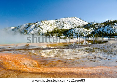 Grand Prismatic Spring, Yellowstone National Park - stock photo