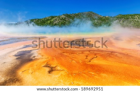 Grand Prismatic Springs in Yellowstone National Park, Wyoming, USA        - stock photo