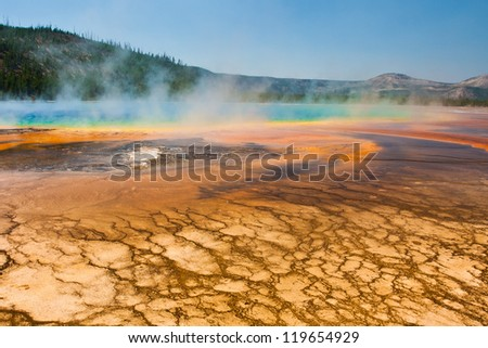 Grand Prismatic Sprint in Yellowstone National Park - stock photo