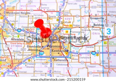 Grand Rapids and Map - stock photo