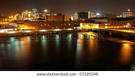 Grand Rapids Michigan at night - stock photo