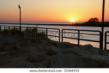 Grand River sunset - stock photo