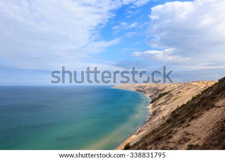 Grand Sable Dunes near Grand Marais, Michigan. The Log Slide Overlook is part of Pictured Rocks National Lakeshore, located between Munising and Grand Marais.  - stock photo