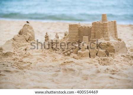 Grand Sand Castle on the beach. - stock photo