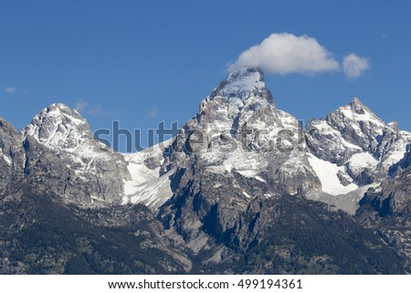 Grand Teton, Mount Owen and glaciers in the valleys of the Grand