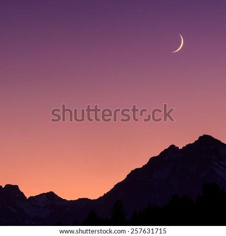 Grand Teton National Park and the moon - stock photo