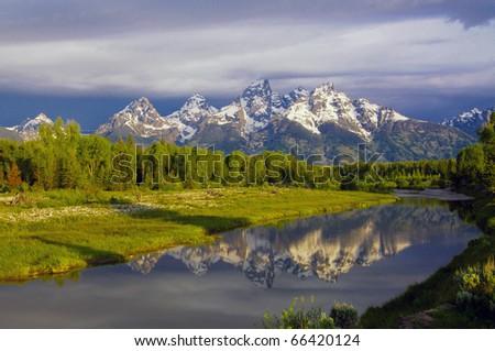 Grand Teton National Park at Schwabacher Landing - stock photo