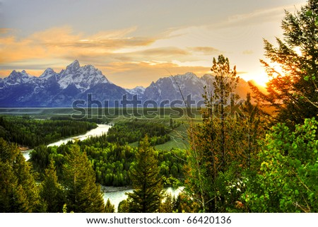 Grand Teton National Park at Snake River overlook - stock photo