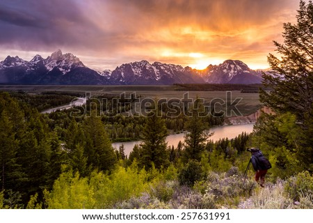 Grand Teton National Park at Snake River overlook sunset - stock photo
