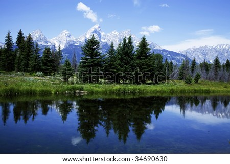 Grand Teton National Park in the Summer with blue skys and reflections