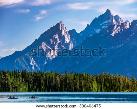 Grand Teton National Park Mountain Peaks  - stock photo