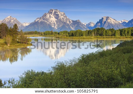 Grand Teton Peaks from the Snake River - stock photo