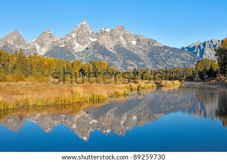 Grand Teton reflection in Snake River.