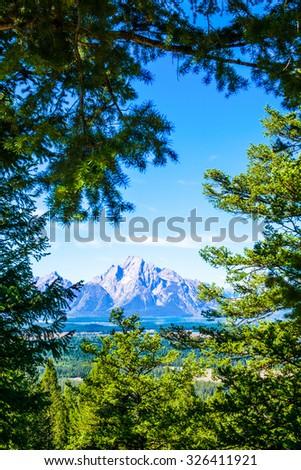 Grand Tetons Mountain Through Trees.  Grand Teton National Park, Wyoming. - stock photo