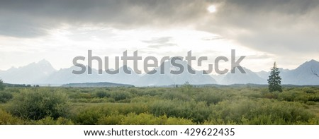 Grand Tetons National Park at Sunset - stock photo