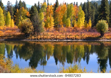 Grand Tetons National park in Autumn time - stock photo