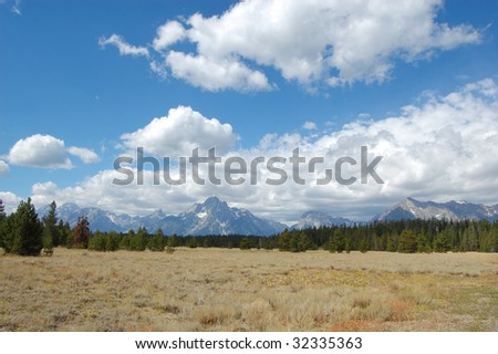 Grand Tetons prairie landscape - stock photo