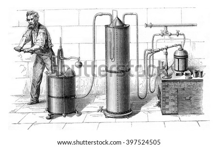 Grand torch air and gas from the lighting, vintage engraved illustration. Magasin Pittoresque 1869.