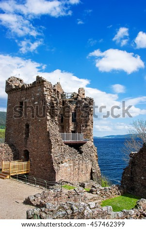 Grand Tower of the Urquhart Castle in Loch Ness, in Scotland. Loch Ness is a city in the Highlands in Scotland in the United Kingdom. - stock photo
