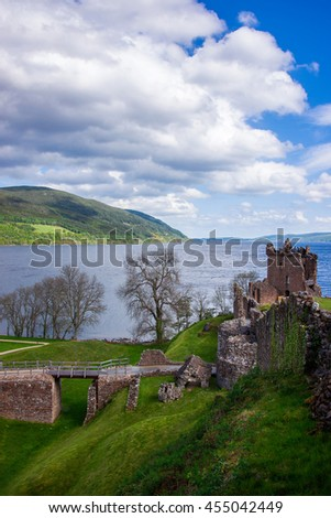 Grand Tower of the Urquhart Castle in Loch Ness of Scotland. Loch Ness is a city in the Highlands in Scotland in the United Kingdom. - stock photo