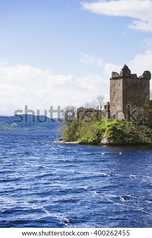 Grand Tower of Urquhart Castle in Loch Ness in Scotland. Loch Ness is a city in the Highlands in Scotland in the United Kingdom. - stock photo